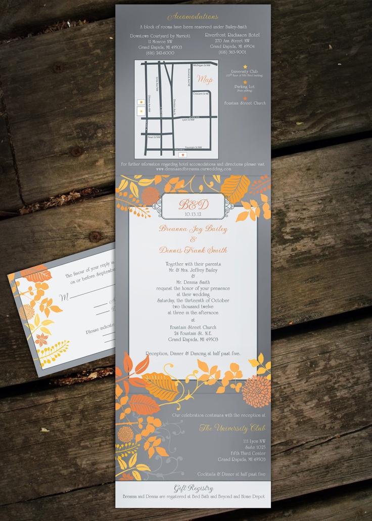 luau wedding invitation templates%0A Customized Fall Wedding Invitation Set         via Etsy