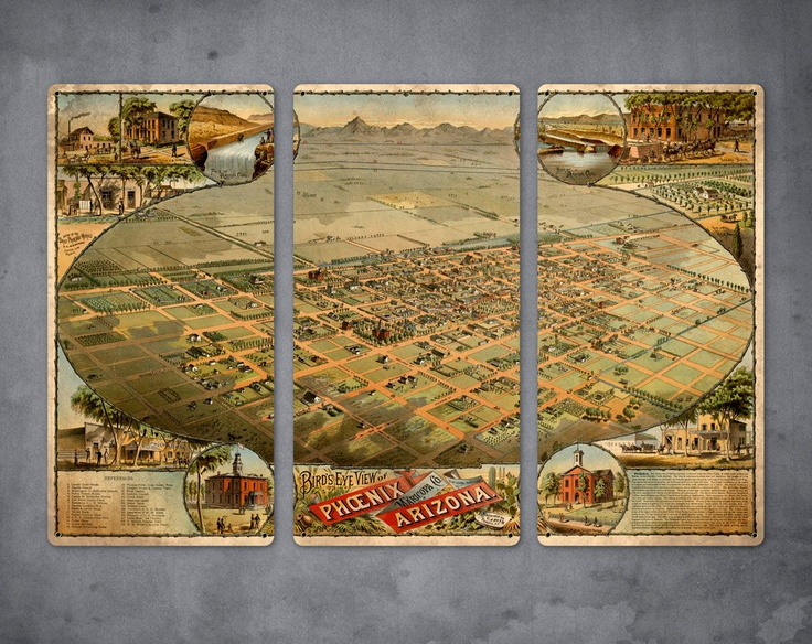 "Old Map of Phoenix Arizona on METAL Triptych - Large 34"" x 23"" - FREE SHIPPING. $139.00, via Etsy."