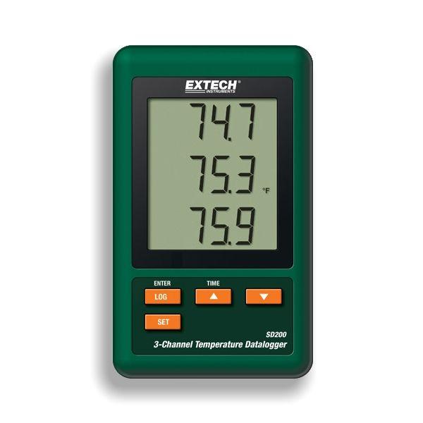 http://www.termometer.se/Loggande-termometer-i-upp-till-3-kanaler-SD200.html  Loggande termometer i upp till 3 kanaler SD200 - Termometer.se  Förutom att fungera som en kvalitetstermometer, kan SD200 också logga (spara) temperaturvärden, upp till 2.000K mätvärden. SD-kortet kan enkelt överföra mätvärden till Excel  där temperaturdata och tid från din mätning. Det är mycket enkelt att erhålla en prydlig temperaturkurva, som du sedan kan skriva ut på din skrivare och dokumentera. SD200...