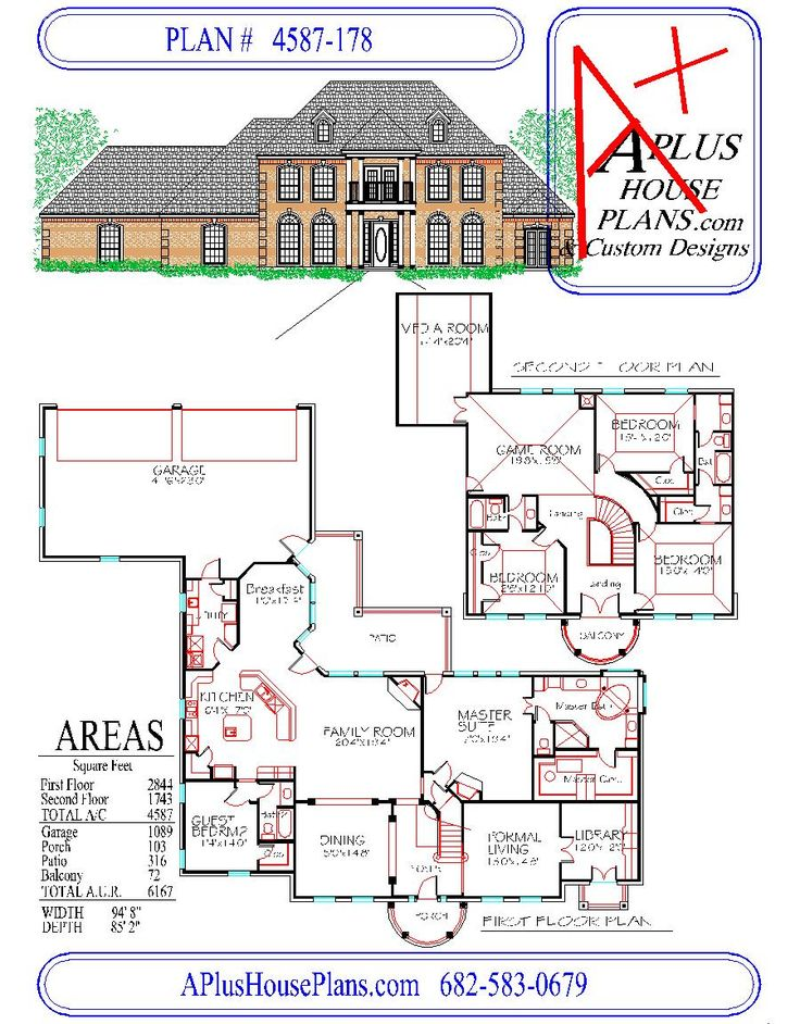 HOUSE PLAN 4587178, colonial front elevation, 4587 sqft