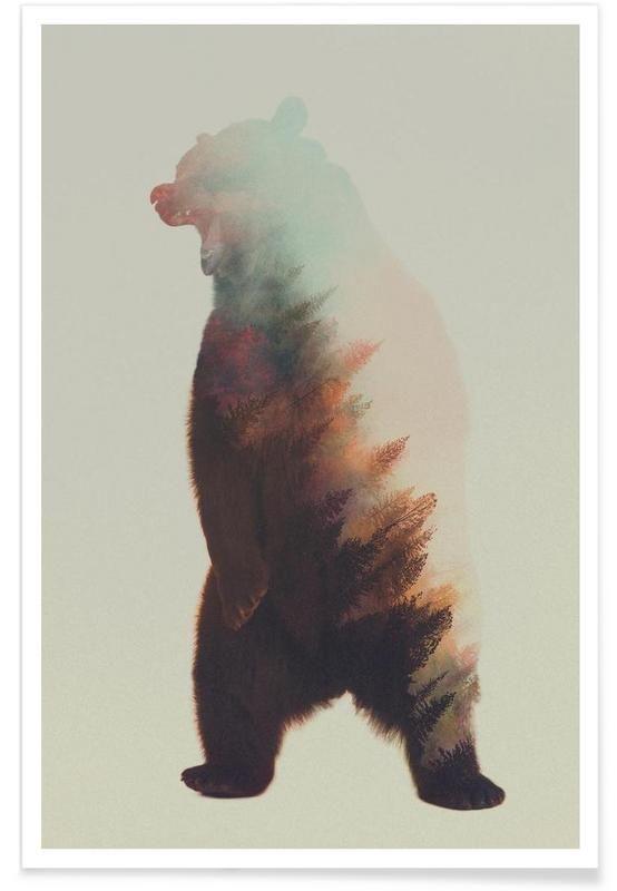 Norwegian Woods: Roaring Bear als Premium Poster von Andreas Lie   JUNIQE