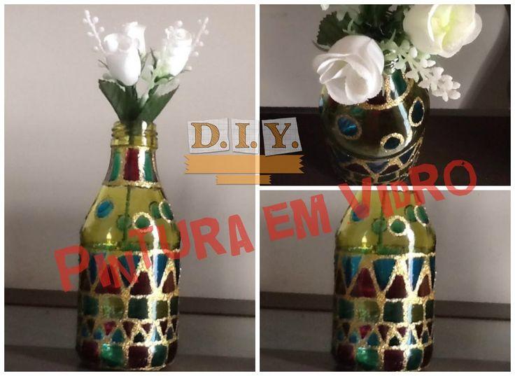 Como pintar vidro com tinta verniz vitral - DIY   Luciana Queiróz