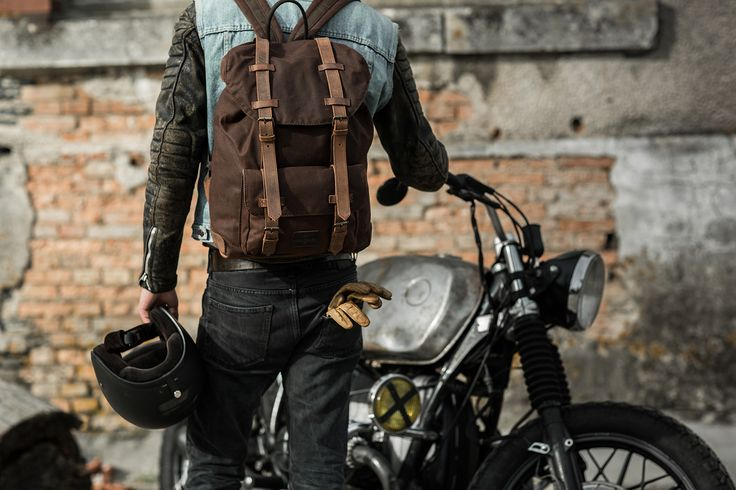 Large Motorcycle Backpack - Brown Waxed Cotton - By Longride.