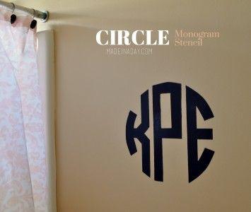 DIY Round Circle Monogram Stencil madeinaday.com #SilhouetteCAMEO