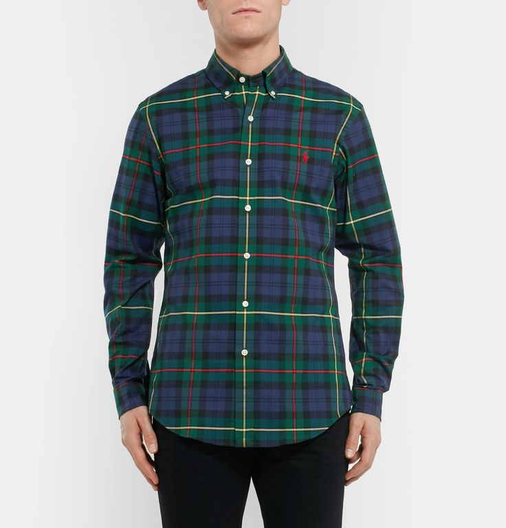 Sporting a rich green, navy and claret check, <a href='http://www.mrporter.com/mens/Designers/Polo_Ralph_Lauren'>Polo Ralph Lauren</a>'s slim-fit shirt is an easy way to introduce colour into your casual wardrobe. It's cut from lightweight stretch-cotton Oxford and finished with a crisp button-down collar. Channel the American label's signature preppy aesthetic by pairing it with chinos and boat shoes.