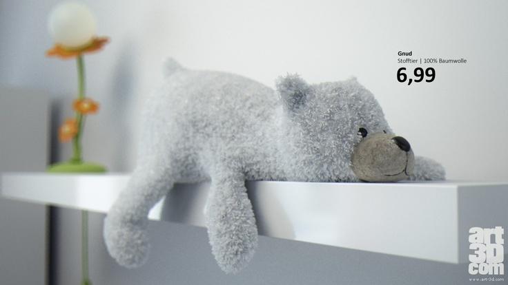 """""""Gnud"""" the Icebear Teddy - 3D artwork"""