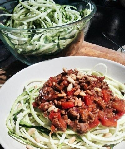 courghetti met tomatensaus en gehakt