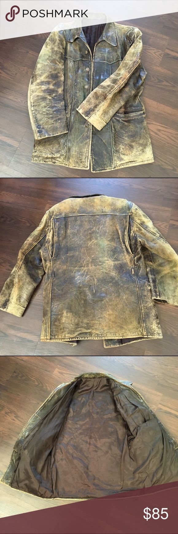 MENS Distressed Leather jacket. Front MeaningArm ...