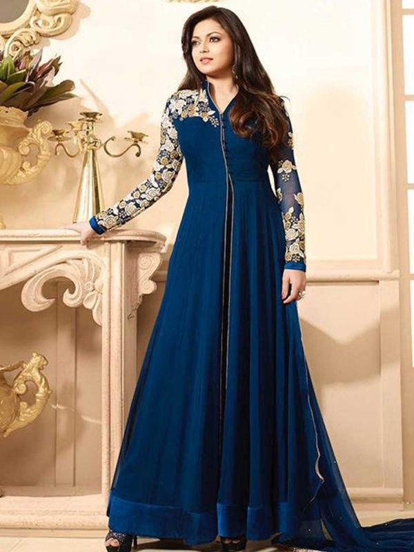918570b980 consternate navy blue designer salwar suit.It contained the work of resham  embroidery with stone work and lace border.The Gowns…