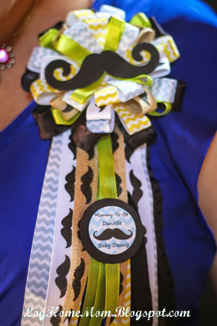Ribbon Corsage Mustache and BowTies Baby Shower Part Two