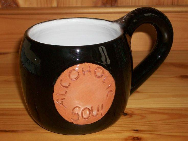 """#Tazza/#Boccale """"Alcoholic Soul"""": altezza 9 cm, diametro 9 cm Smalto lucido nero all'esterno, smalto lucido bianco all'interno (smalto apiombico adatto per alimenti) Il pezzo ha subito una prima cottura a 980° e una seconda cottura a 940°  # Cup / Mug # """"Alcoholic Soul"""": height 9 cm, diameter 9 cm nail polish shiny black outside, white inside shiny polish (enamel does not contain lead, suitable for foodstuffs) The piece has undergone a first baking at 980 ° and a second firing at 940 °"""