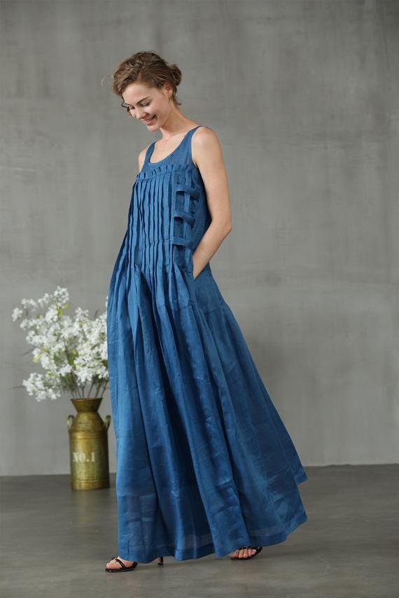 linen dress in blue maxi dress pintuck dress clothing women