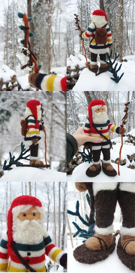 Christmas Needle Felted Hudson Bay Santa Claus or by McBrideHouse