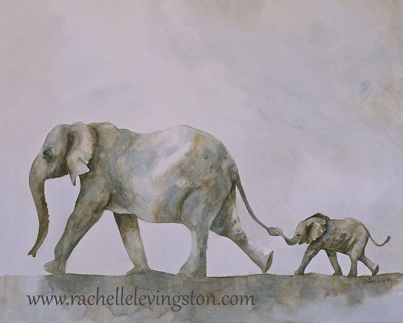 watercolor painting of elephant painting art by 1000PaintedTrees, $18.50