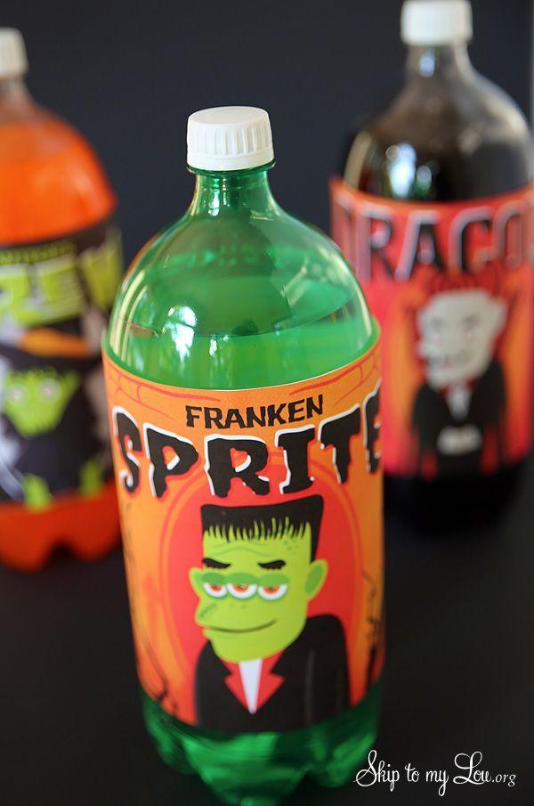 "Free printable 2 liter bottle labels for Halloween! ""Franken Sprite"" #halloween #print skiptomylou.org"