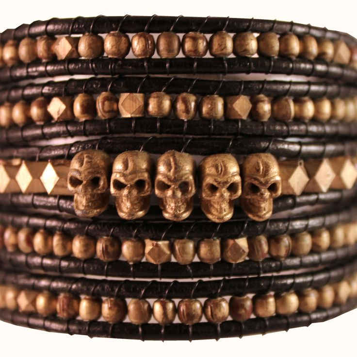 Skull wrap gold-black