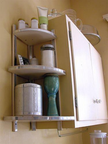 corner shelves, 1940s-50s kitchen