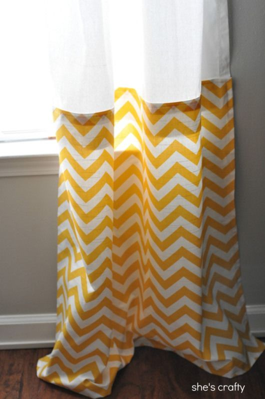 27 DIY Home Decorating Projects to Make! Buy short inexpensive curtains and add fabric to bottom to make them your own and the right length.