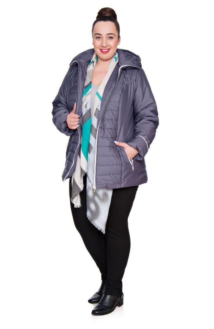 Szaro-fioletowa kurtka z kapturem białe wstawki - Modne Duże Rozmiary