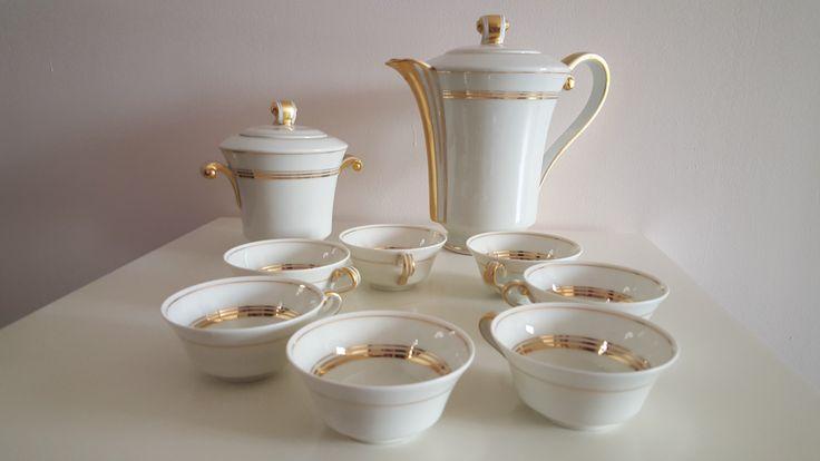 Service für Milchkaffee in LIMOGES Porzellan zu Einfassung gold Art Deco, alte Fabrik Royale de LIMOGES, Jahrgang Kaffee Französisch von TheFrenchAtticBazaar auf Etsy https://www.etsy.com/de/listing/465713326/service-fur-milchkaffee-in-limoges