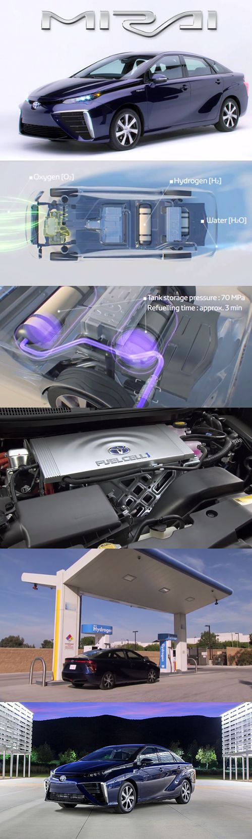 Toyota's hydrogen fuel cell car, Mirai.