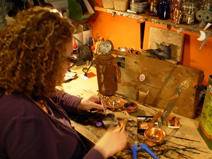 Susanah Windrum of Copper Lizard Studio busy creating more Recycled Metal Sculptures (Photo Credit: Copper Lizard Studio)