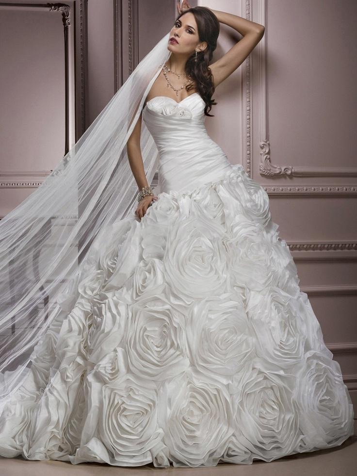 Strapless Rosette Skirt A-Line Princess Skirt Wedding Dress Gown (Custom Order H2)....via Etsy.