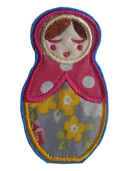 Anoushka Babushka strijkapplicatie in geel - roze polkadot