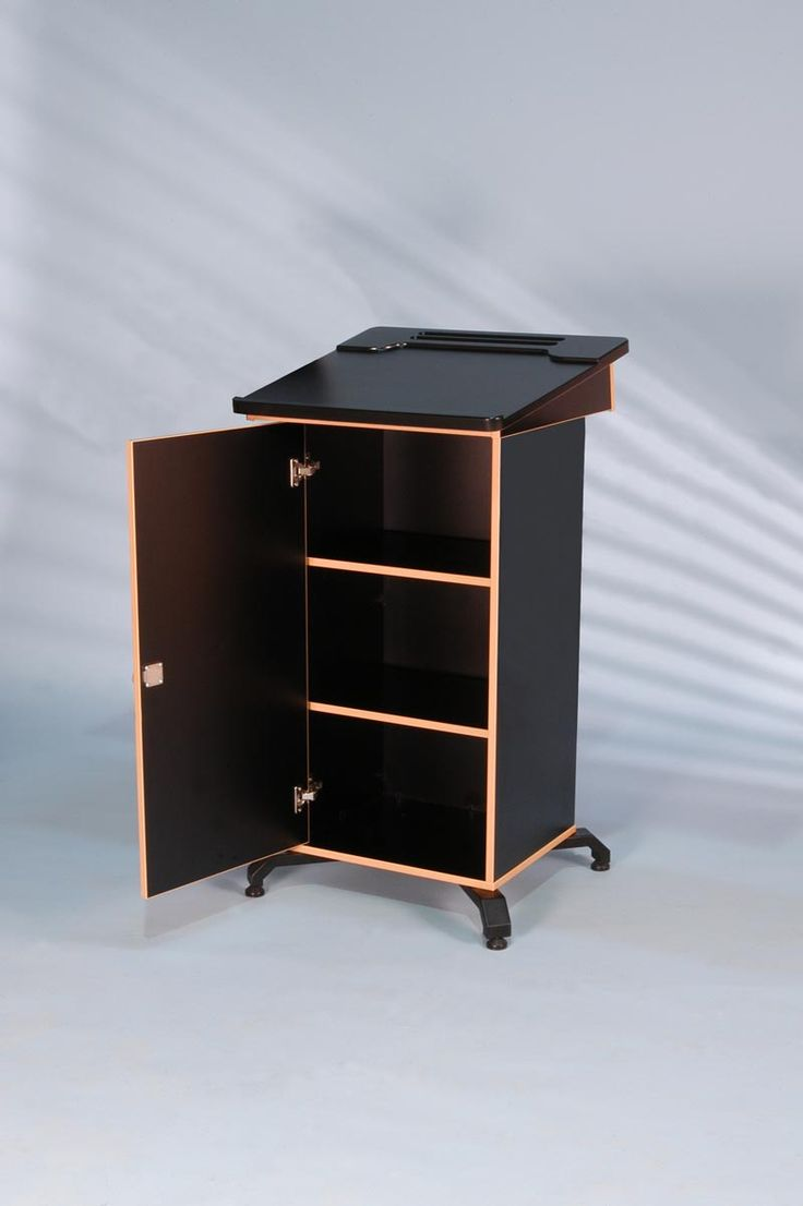Post Style Lectern With Lockable Cabinet And Angled Lift Up Worktop Is Shaped