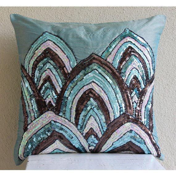 Blue Sequins & Beaded Throw Pillows Cover, 20X20 Silk Pillows Cover - Blue Mahal