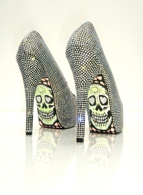 These sparkle heels are awesome. Would be perfect with black pants suit or a cocktail dress! Love the skull design on the bottom, got it get these!!