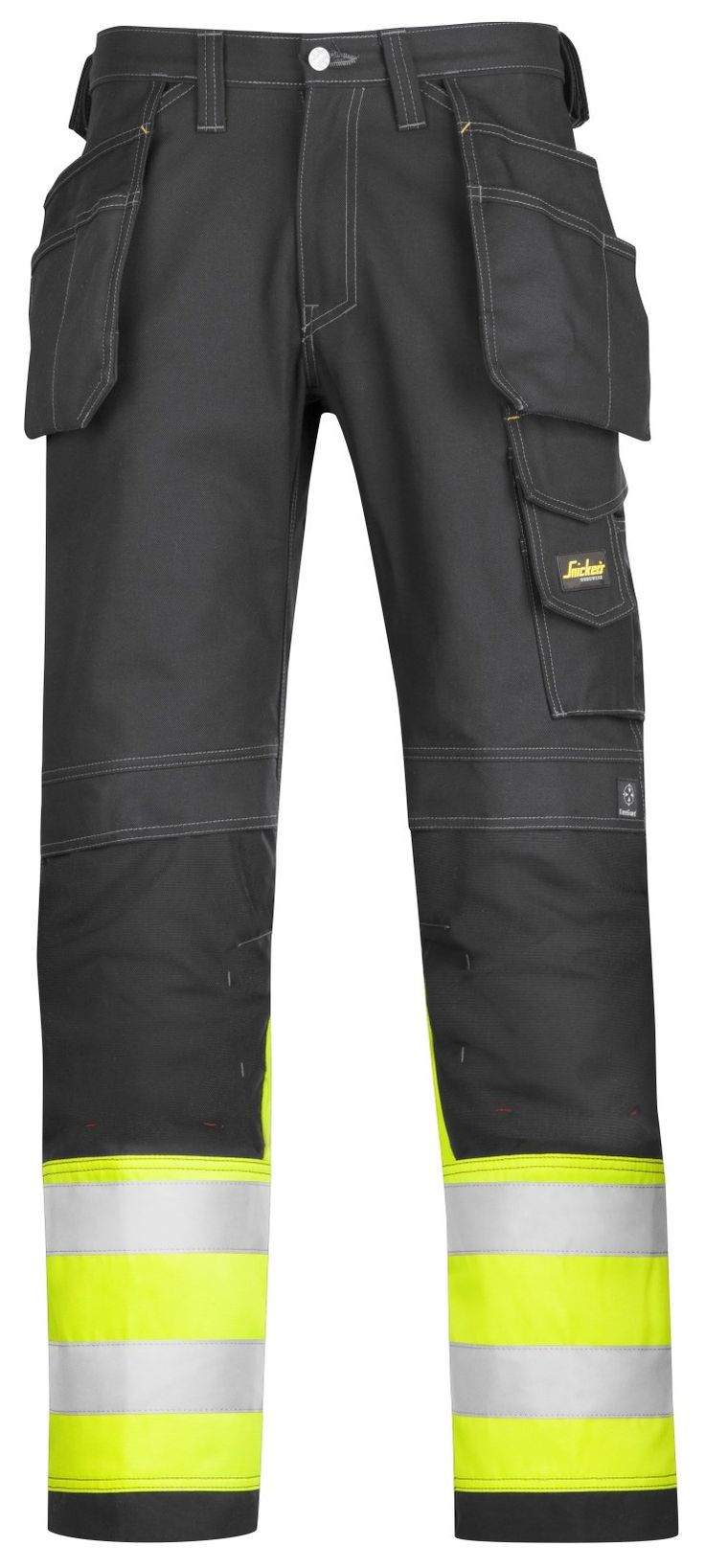 For all those jobs you need to be visible, but you don't need the whole nine yards, this pair of high visibility trousers (class 1) offers all the functionality you need with extra visibility at the legs. - Snickers Workwear Artnr. 3235