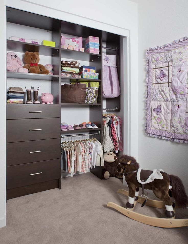 Girls Reach In Closet Shown With Modern Drawer Fronts Chocolate Pear
