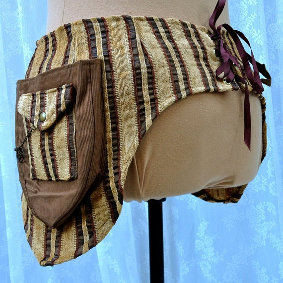 Steampunk utility belt - fancy tool belt - festival pockets - gold and brown stripes - size Large. $110.00, via Etsy.