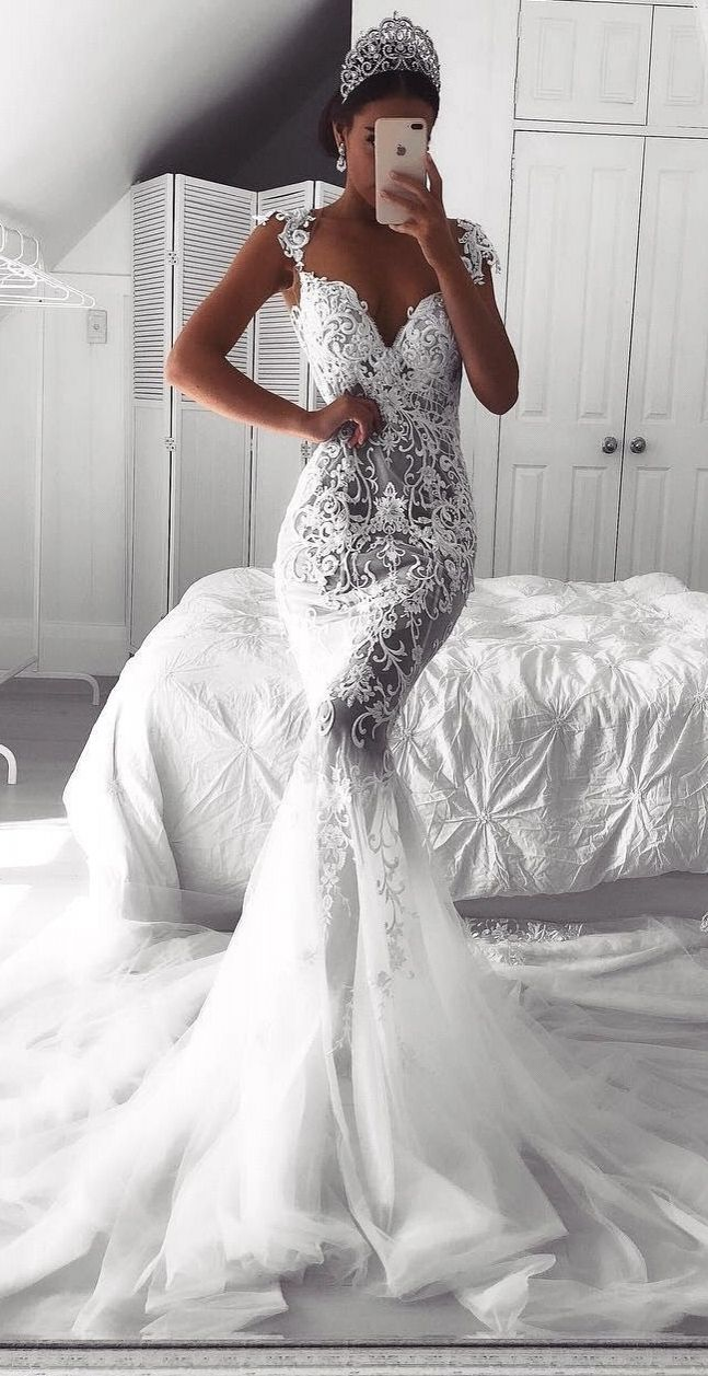 Horny Lace Mermaid Wedding ceremony Attire | See-By means of Cap Sleeves Bridal Robes