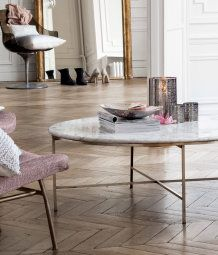 Hu0026M Home Round Marble Coffee Table