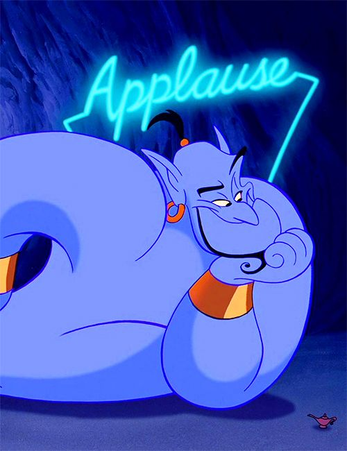 "So the animators released an early, first-draft showing of Aladdin, before the theater release. Unlike Beauty and the Beast, the audience didn't applaud to the musical numbers in Aladdin so the animators inserted the ""applause"" sign as a joke from the audience's reaction."