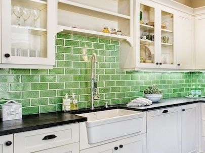 Beautiful tile made from old toilets? You're looking at it! Learn more about Fireclay Tile #green: Green Tile, Fabulous Ideas, Green Kitchen, Clay Tile