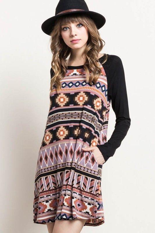 Black Tribal Print Raglan Dress