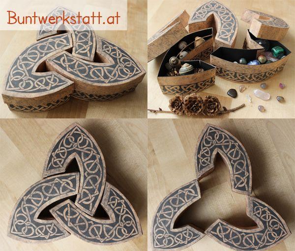 Downloadable pattern for this awesome celtic box! you can make one too! www.buntwerkstatt.at / Die Vorlage für diese keltische Box kann man sich herunterladen und ausdrucken