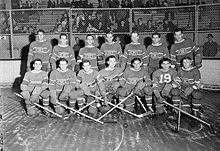 Photo noir et blanc des 14 joueurs des Canadiens de Montréal qui posent sur deux rangs sur la patinoire devant un grillage qui les sépare des gradins et des spectateurs.