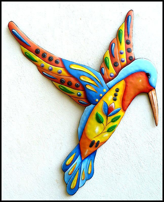Painted Metal Hummingbird Wall Hanging, Metal Decor, Whimsical Art, Bird Art…