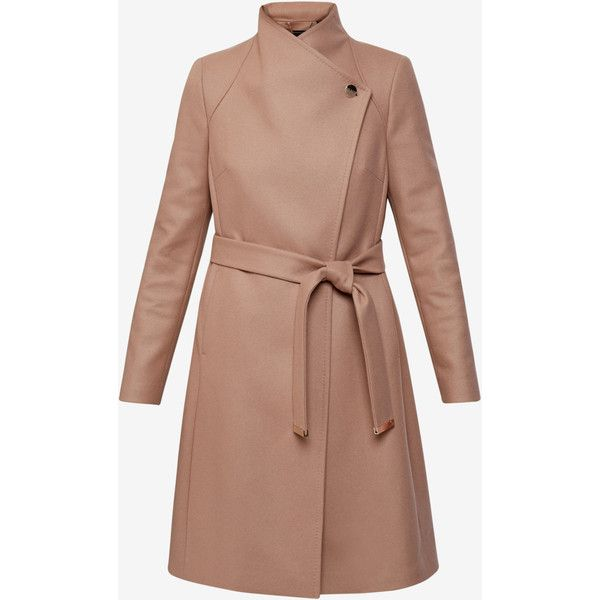 Ted Baker Long wrap coat ($550) ❤ liked on Polyvore featuring outerwear, coats, long beige coat, long sleeve coat, long coat, beige wrap coat and funnel-neck coats