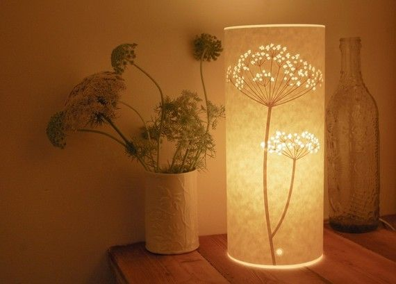 A free standing table lamp with a paper cut Cow Parsley design.The design is cut from laser cut from paper and then the paper is laminated for strength and durability.It comes with a white 2 metre cable with an inline switch available with Euro, U.K or U.S cable. It takes a 40 watt max bulb.
