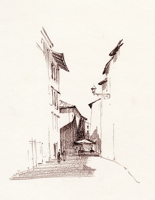 "A minimalistic drawing of a street, where detail and the associated focal region is generated by the shadows and areas of ""dark"", formulated through hatching techniques  (Pinned from flickr.com, mtbrehm)"