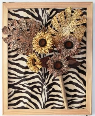 Framed animal print flower bouquet