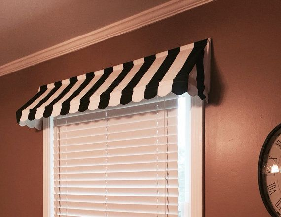 Stripe Awning Valance Black And White By Windowtoppings Indoor Awnings Window Valance Window Awnings