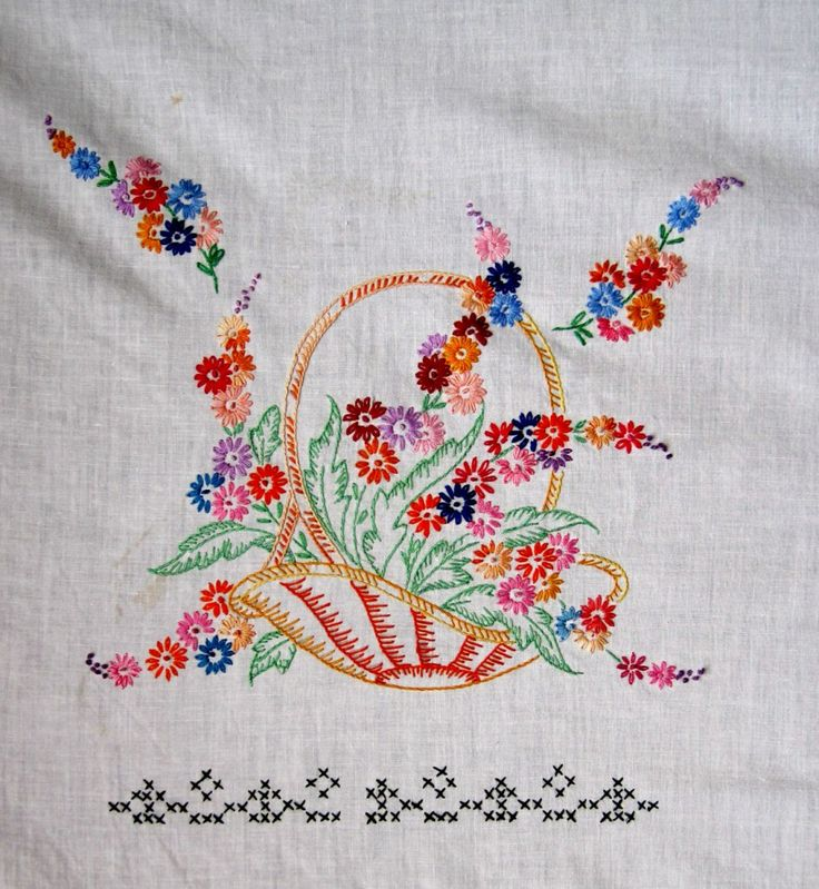 Free Flower Basket Embroidery Designs : Embroidered baskets embroidery stiching