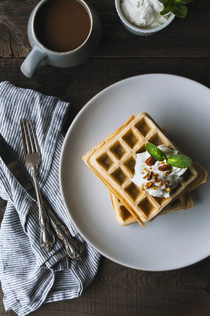 Guinness Waffles with Irish Whiskey Cream | HonestlyYUM