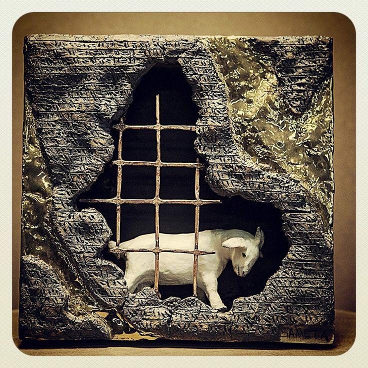 #ceramic #ceramicsculpture #relief #gold #cunform #copper #copperoxide #figure #goat
